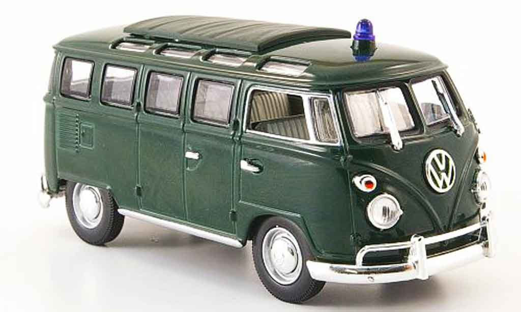 Volkswagen Combi 1/43 Yat Ming t1 samba police verde miniatura