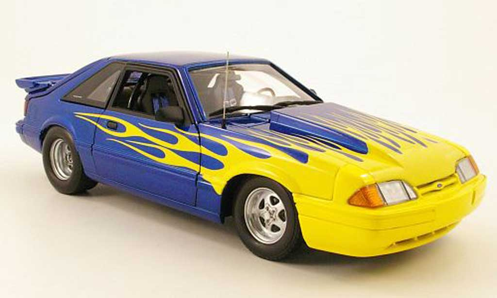 Ford Mustang 1987 1/18 GMP lx drag car bleu/yellow diecast