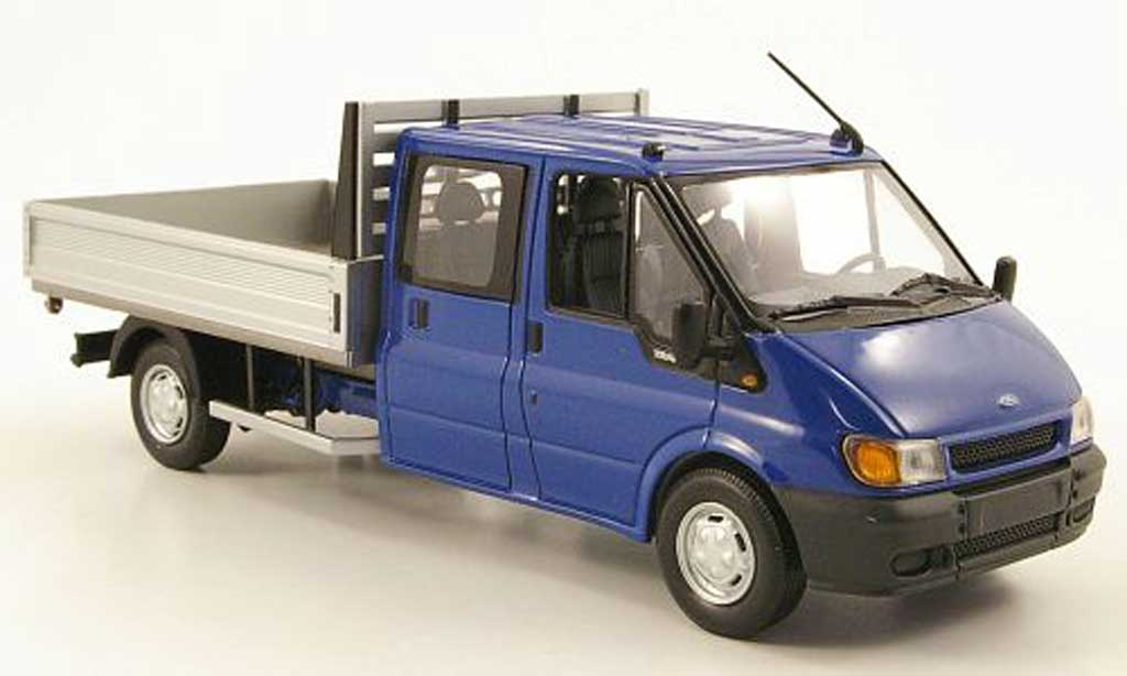 Ford Transit 1/43 Minichamps DoKa-Pritsche bleu 2000 miniature