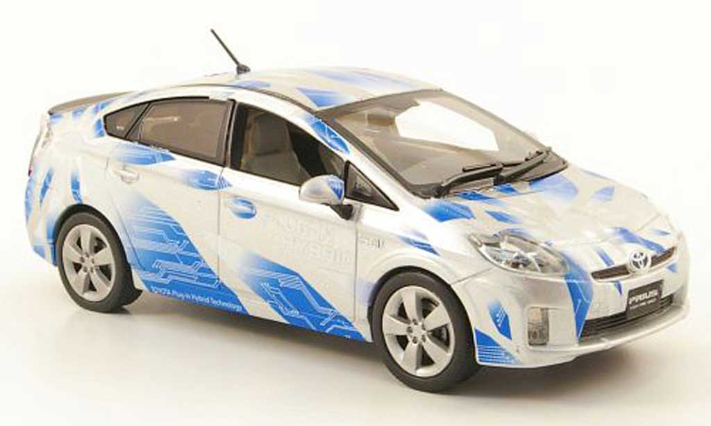 Toyota Prius 1/43 J Collection III Plug-In Hybrid grise/bleu miniature