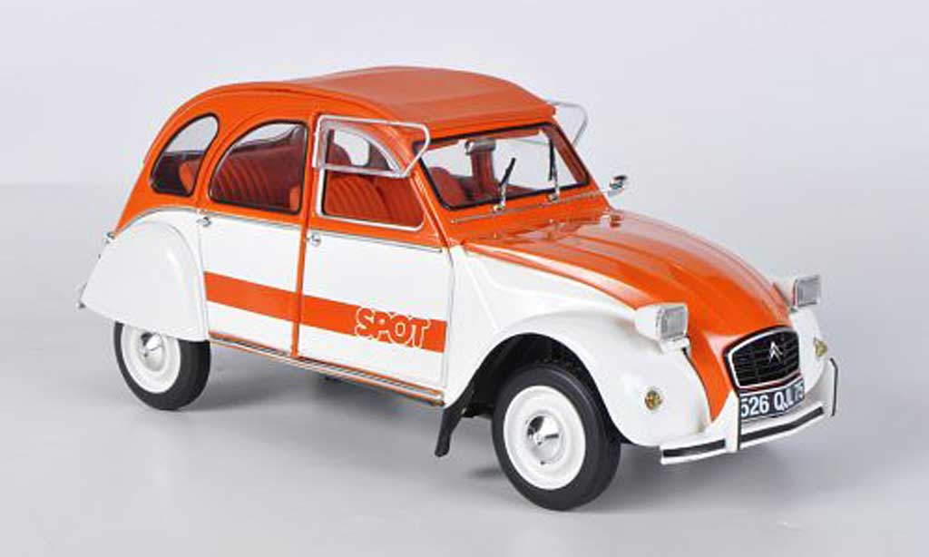 Citroen 2CV 1/18 Solido Spot orange/blanche 1976 miniature