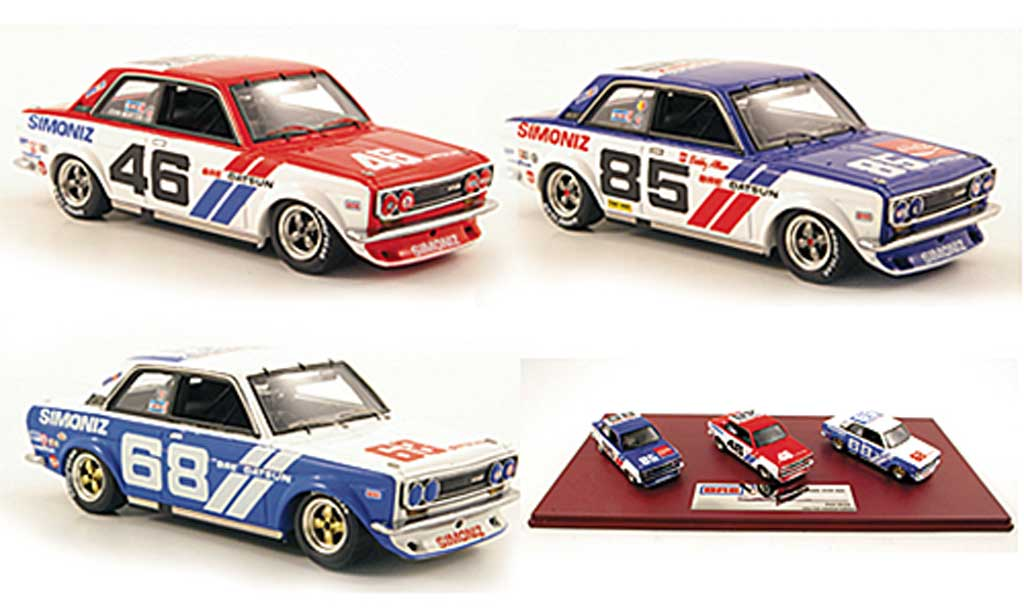Datsun 510 1/43 TrueScale Miniatures BRE Team-Set: No.46 No.68 + No.85 1972 miniature