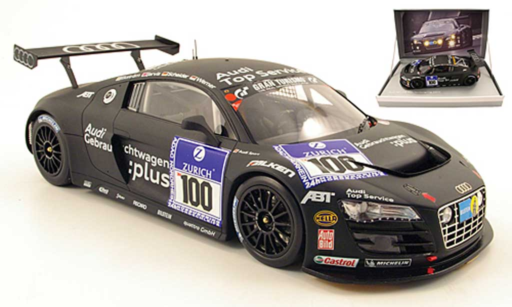 Audi R8 LMS 1/18 Spark no.100 audi top service 24h nurburgring 2010 ekstrom / jarvis / scheider / werner miniature