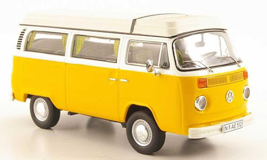 Volkswagen T2 1/43 Premium ClassiXXs Camper avec Aufstelldach jaune/blanche miniature