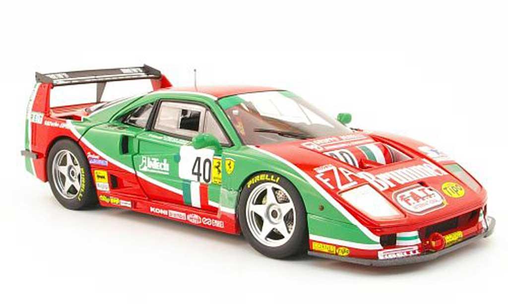 Ferrari F40 1/18 Hot Wheels competizione no.40 brummel 24h le mans 1995 l.della noce/a.olofsson/t.ota diecast