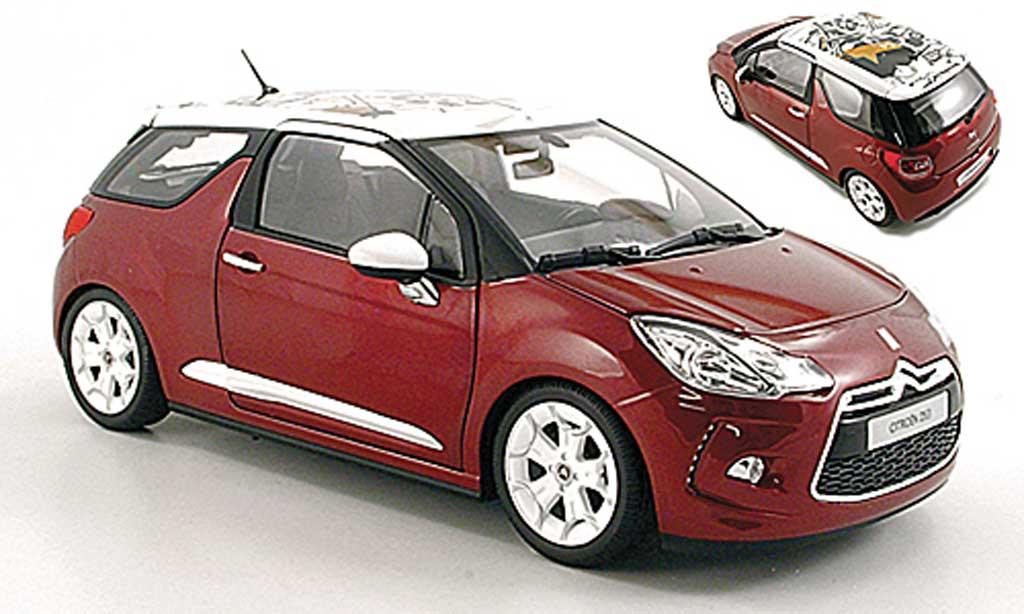 DS Automobiles DS3 1/18 Norev Sanguine rouge mit blanche Dach 2010 miniature