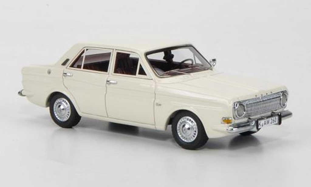 Ford Taunus 1966 1/43 Neo 12m P6 Limousine blanche 4-portes miniature