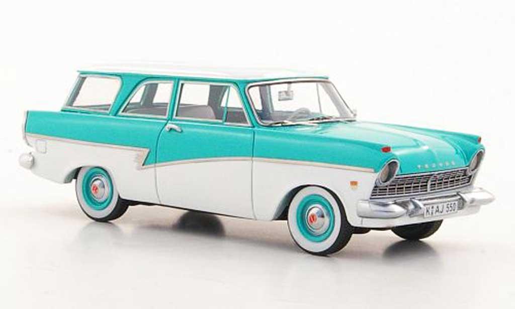 Ford Taunus 1957 1/43 Neo P2 17m Turnier turquoise/blanche miniature