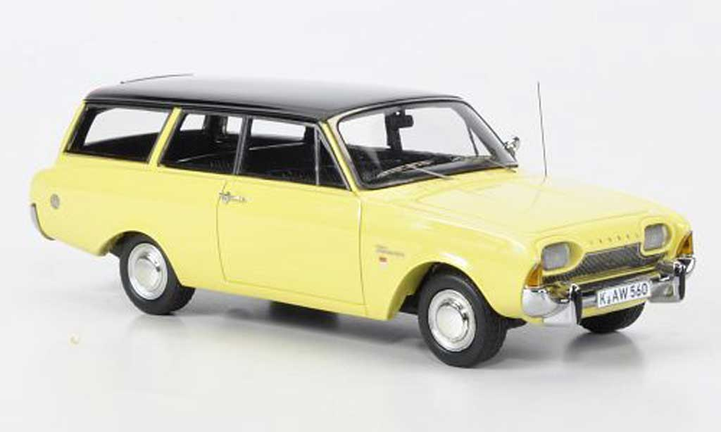 Ford Taunus 1960 1/43 Neo 17m P3 Turnier jaune/noire miniature