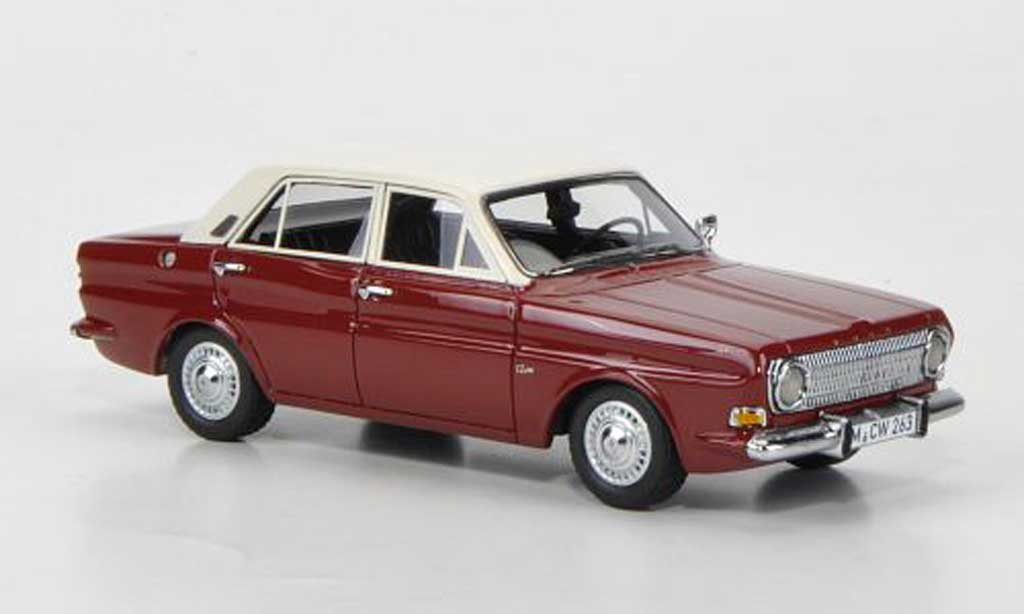 Ford Taunus 1966 1/43 Neo 12m P6 rouge/blanche 4-portes limited edition miniature