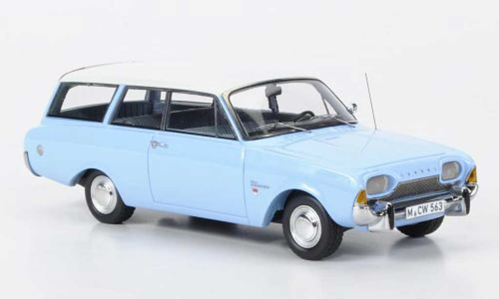 Ford Taunus 1960 1/43 Neo 17m P3 Turnier bleu/blanche limited edition miniature