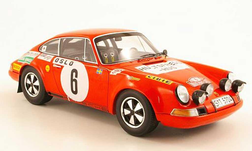Porsche 911 S 1/18 Spark No.6 B.Waldegaard/L.Helmer Monte Carlo Rally 1970 miniature
