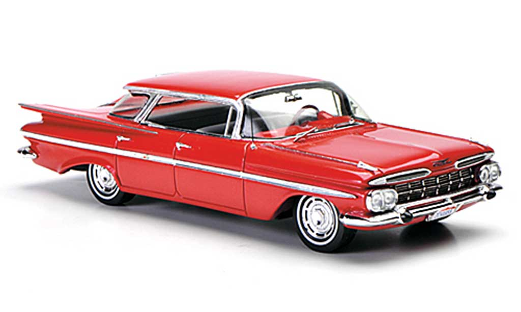 Chevrolet Impala 1959 1/43 Spark Four Window Sedan rouge miniature