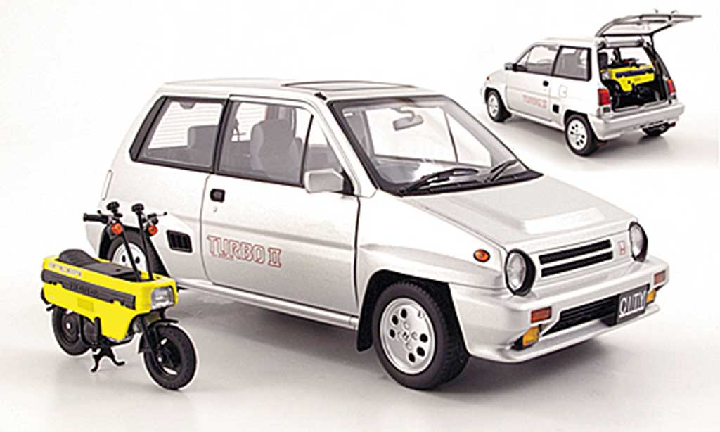 Honda City Turbo 1/18 Autoart II grise metallisee RHD 1983