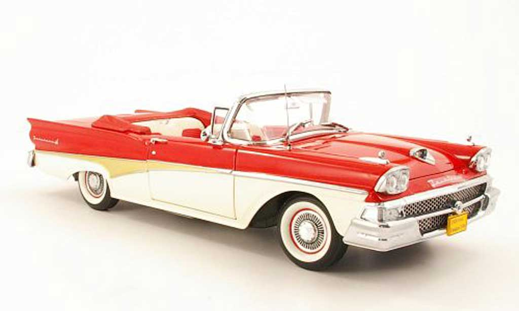 Ford Fairlane 1958 1/18 Sun Star 500 Convertible rouge/blanche miniature