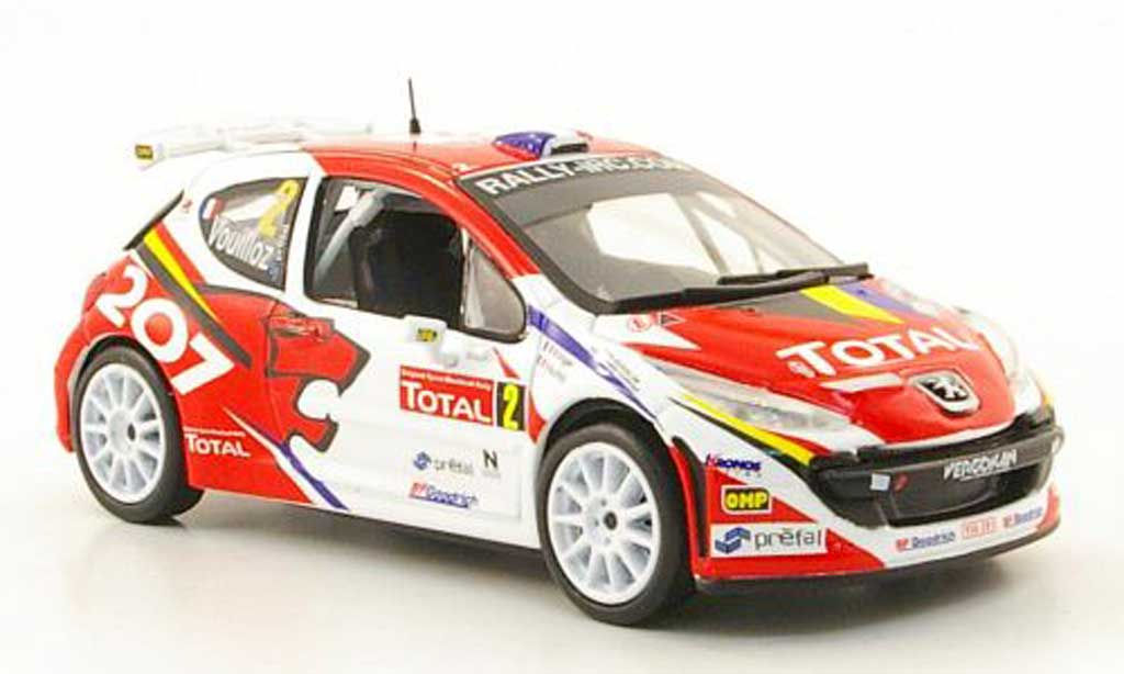 Peugeot 207 S2000 1/43 Hachette No.2 Total Rally Ypern 2008 miniature