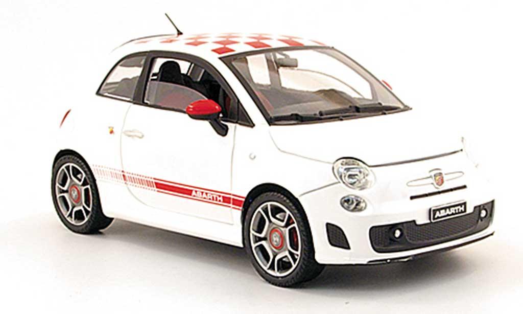 Fiat 500 Abarth 1/18 Mondo Motors blanche mit rougekariertem dach 2008 miniature