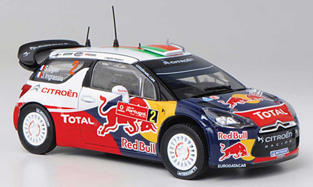 DS Automobiles DS3 WRC 2011 1/43 Norev WRC 2011 No.2 Red Bull - Total S.Ogier / J.Ingrassia Rally Portugal miniature