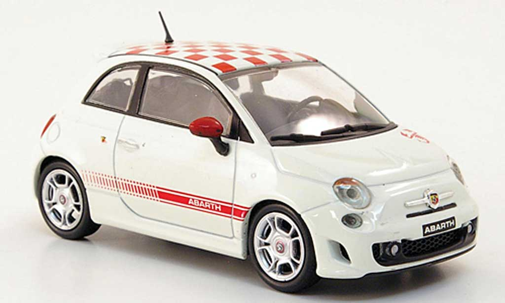 Fiat 500 Abarth 1/43 Hachette white/red 2008 diecast