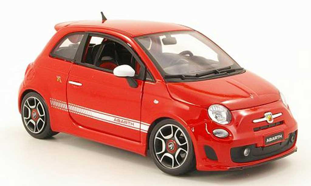 Fiat 500 Abarth 1/18 Burago red 2007 diecast model cars