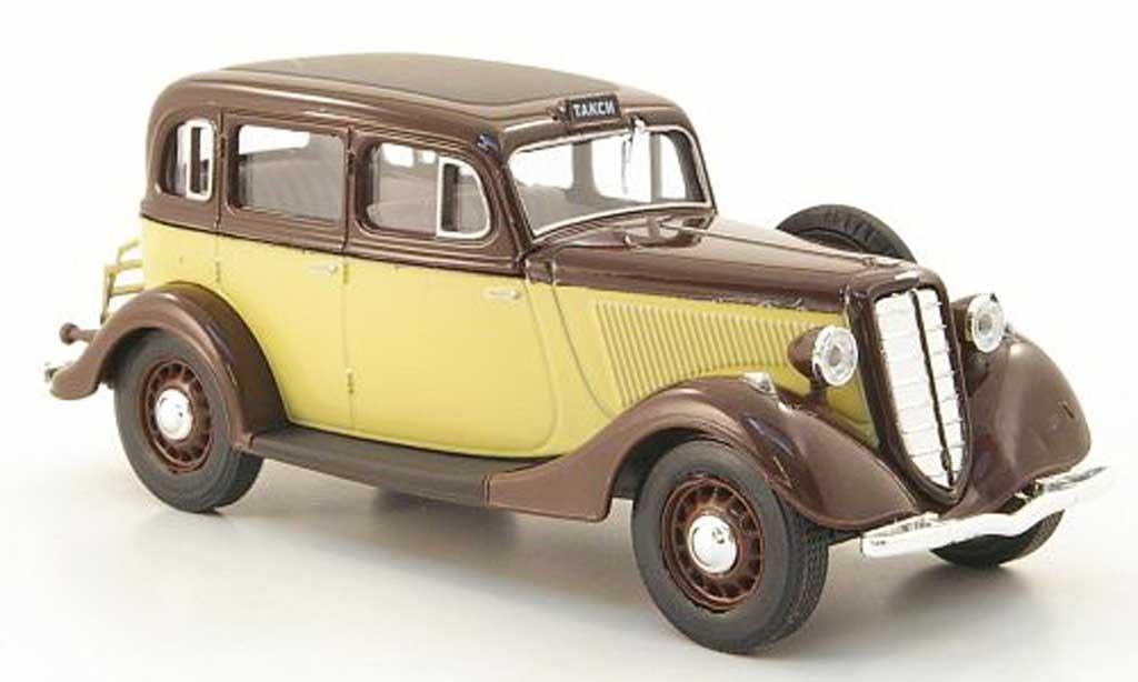 Gaz M1 Taxi 1/43 Nash Avtoprom marron/beige miniature
