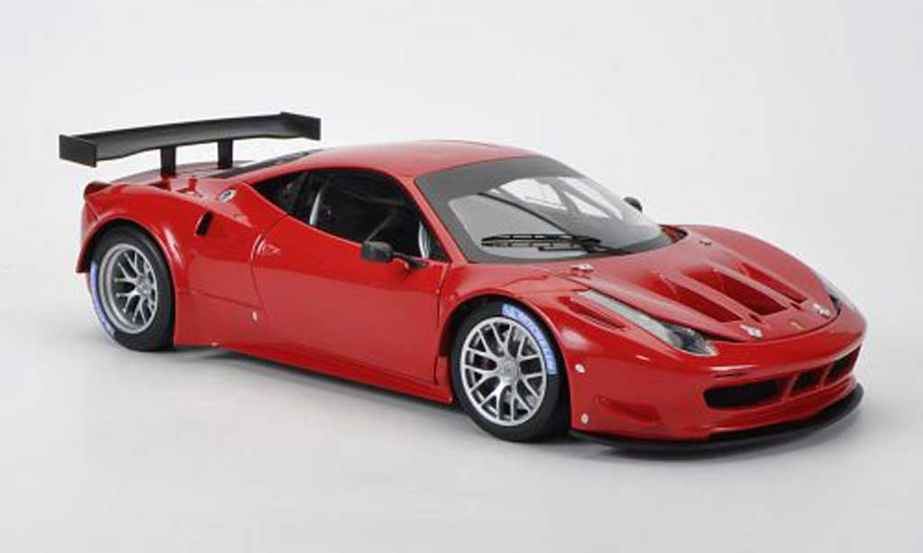 Ferrari 458 Italia GT2 1/18 Hot Wheels Elite rouge Presentationsfahrzeug miniature
