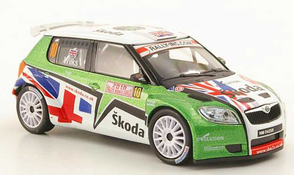 Skoda Fabia S2000 1/43 Abrex No.10 Wilks/Pugh Rally Monte Carlo 2010 miniature