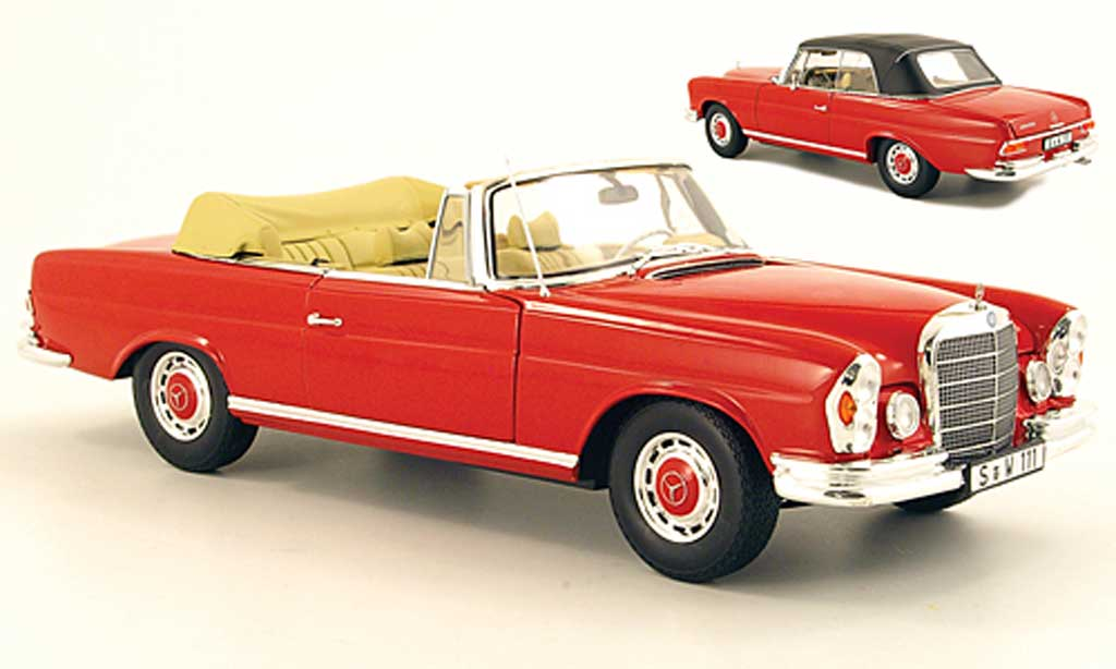 Mercedes 280 1969 1/18 Norev SE Cabriolet (W111) red diecast model cars