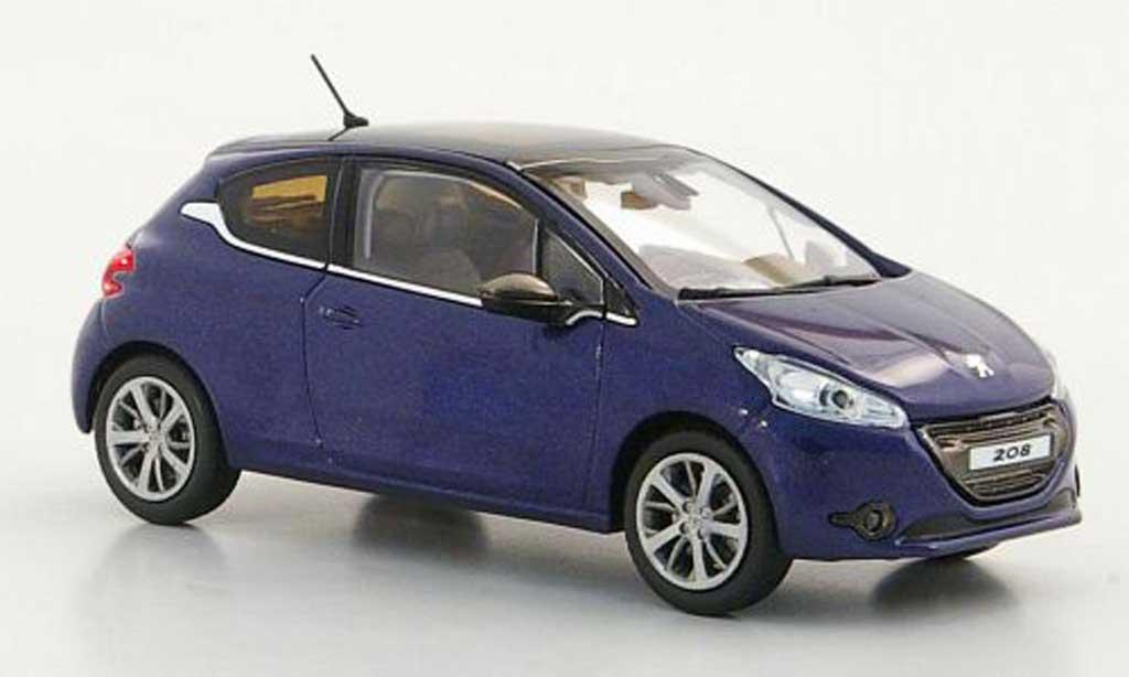 Peugeot 208 1/43 Norev bleu 3-portes miniature