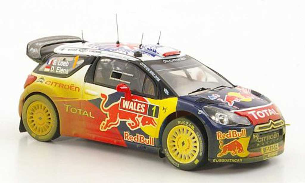 DS Automobiles DS3 WRC 2011 1/43 IXO No.1 Red Bull - Total S.Loeb / D.Elena Rally Wales miniature