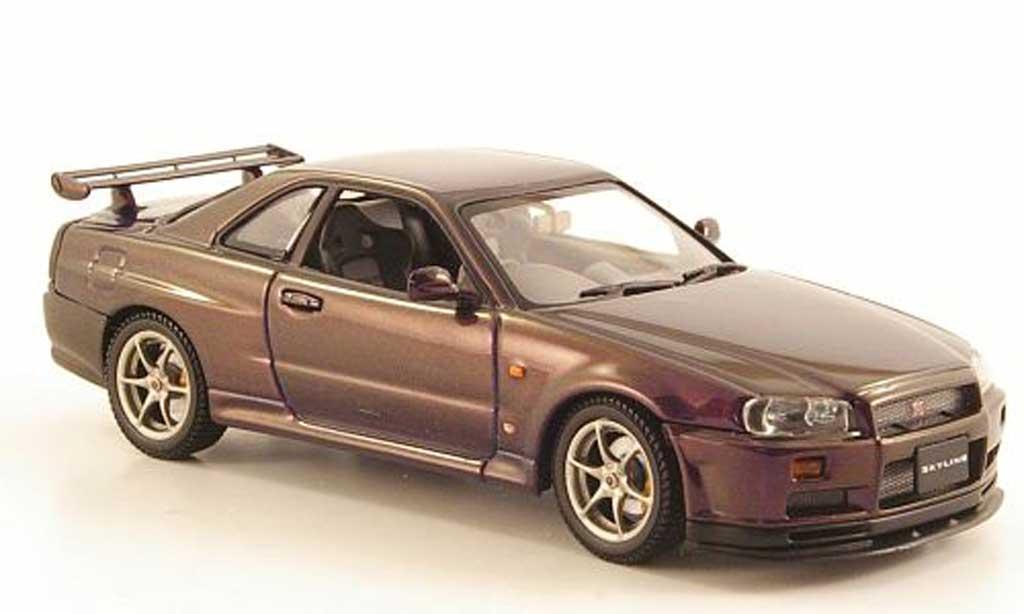 Nissan Skyline R34 1/43 Autoart GT-R lila 1999 miniature