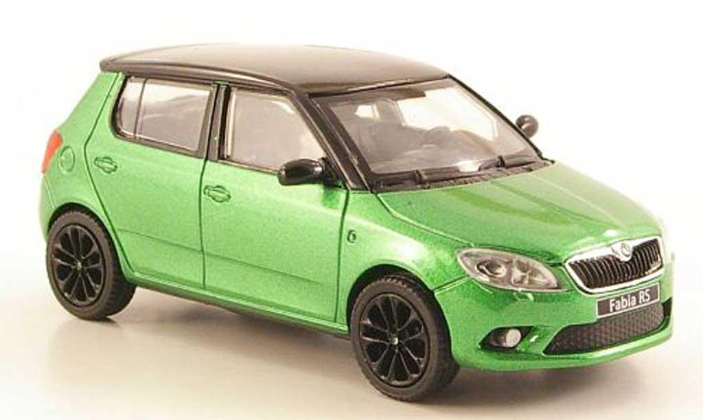 Skoda Fabia RS 1/43 Abrex II green mit blackem Dach und Felgen  2010 diecast