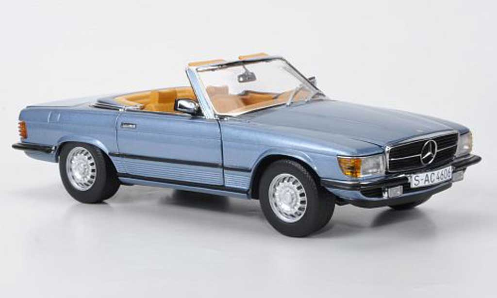 Mercedes 350 SL 1/18 Sun Star bleu 1977 miniature