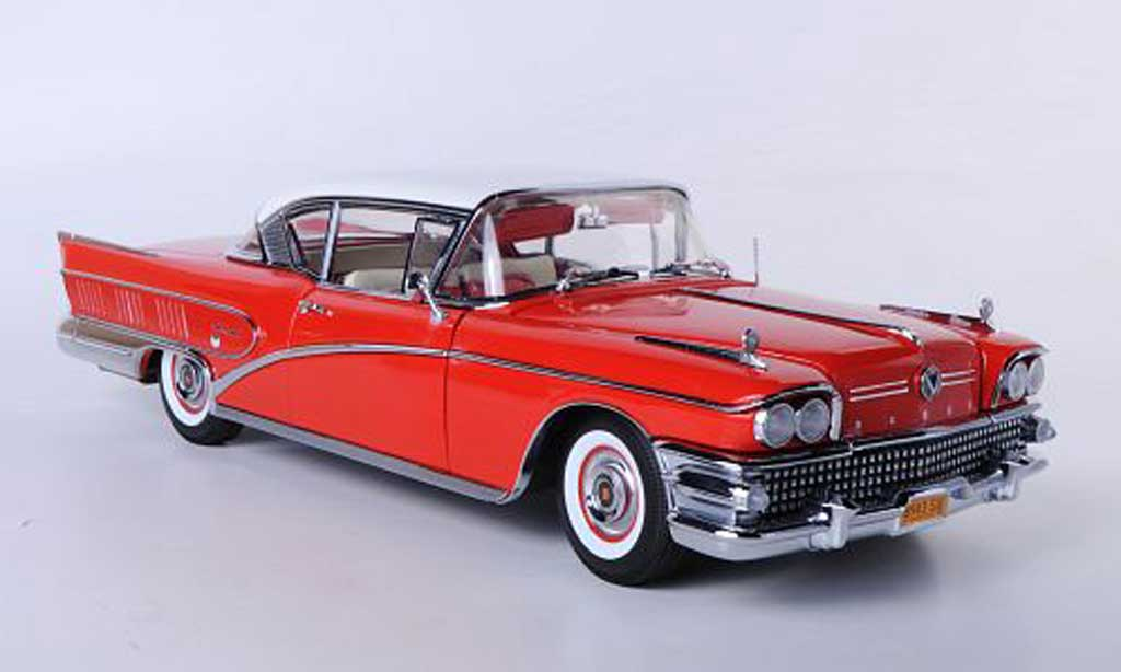 Buick Limited 1/18 Sun Star Hardtop Coupe rouge/blanche 1958 miniature