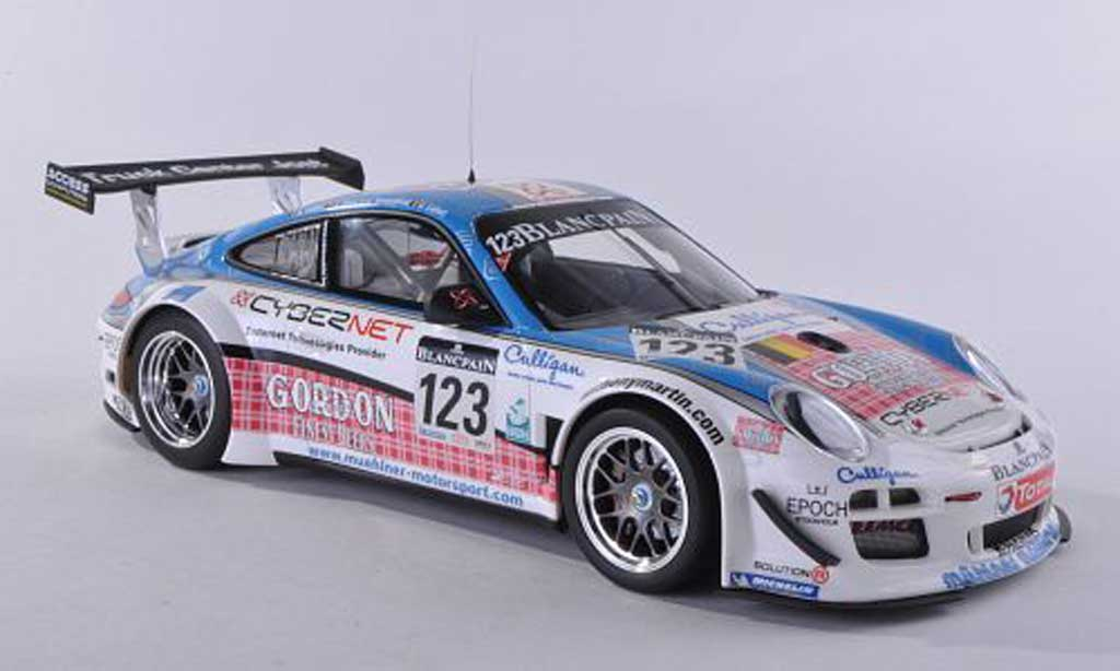 Porsche 997 GT3 1/18 Minichamps R 2011 No.123 Muhlner Motorsport 24h Spa Fumal/Thiry/Rosenblad/Lefort miniature