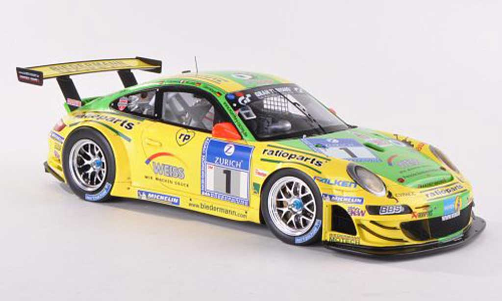 Porsche 997 GT3 RSR 1/18 Spark 2009 No.1 Ratioparts Manthey Racing 24h Nurburgring miniature