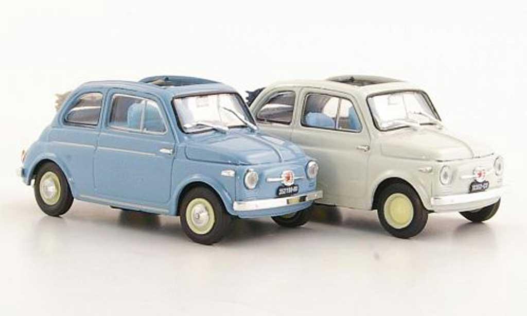 Fiat 500 1/43 Brumm 2er-Set: Nuova bleugray + Nuova Economica white 1957 diecast