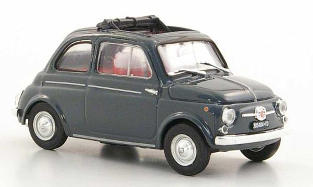 Fiat 500 D 1/43 Brumm grey geoffnetes Faltdach 1960 diecast model cars
