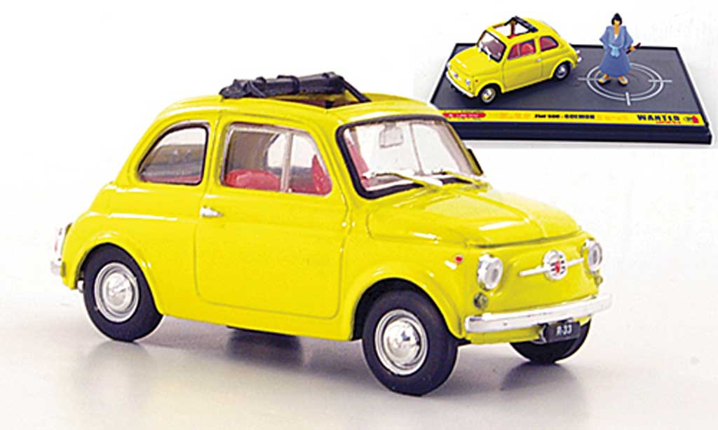 Fiat 500 1/43 Brumm yellow Goemon ''Wante- Lupin the 3rd'' diecast