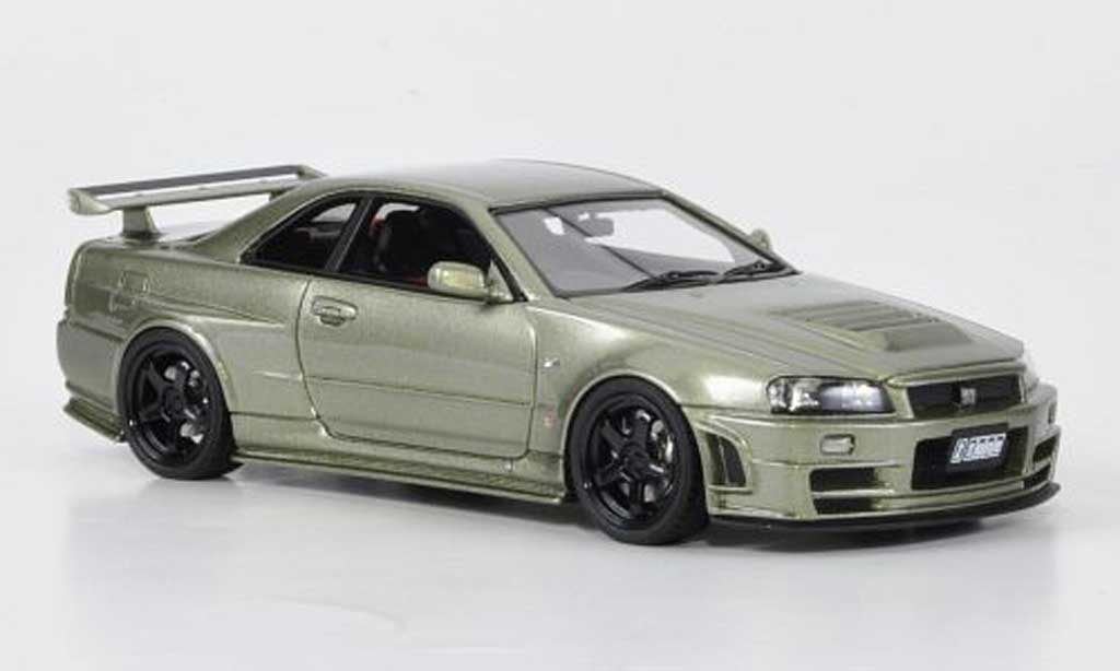 Nissan Skyline R34 1/43 HPI GT-R Nismo Z-Tune griseverte miniature