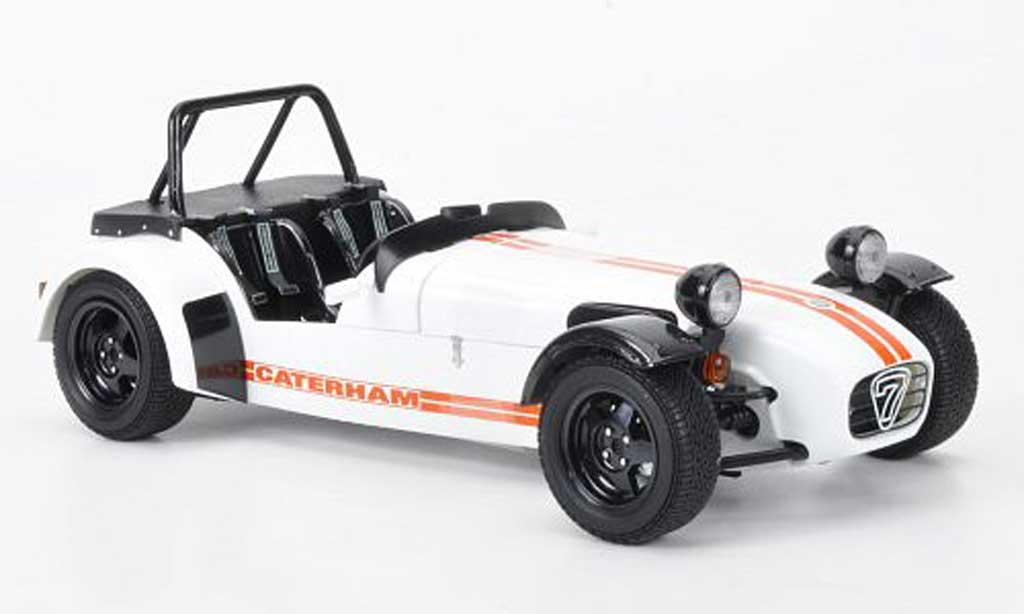 Caterham Super Seven 1/18 Kyosho JPE blanche avec orangenem Streifen miniature