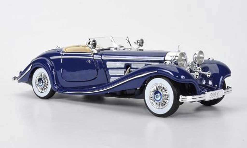 Mercedes 500 K 1/18 Maisto bleu 1936 miniature