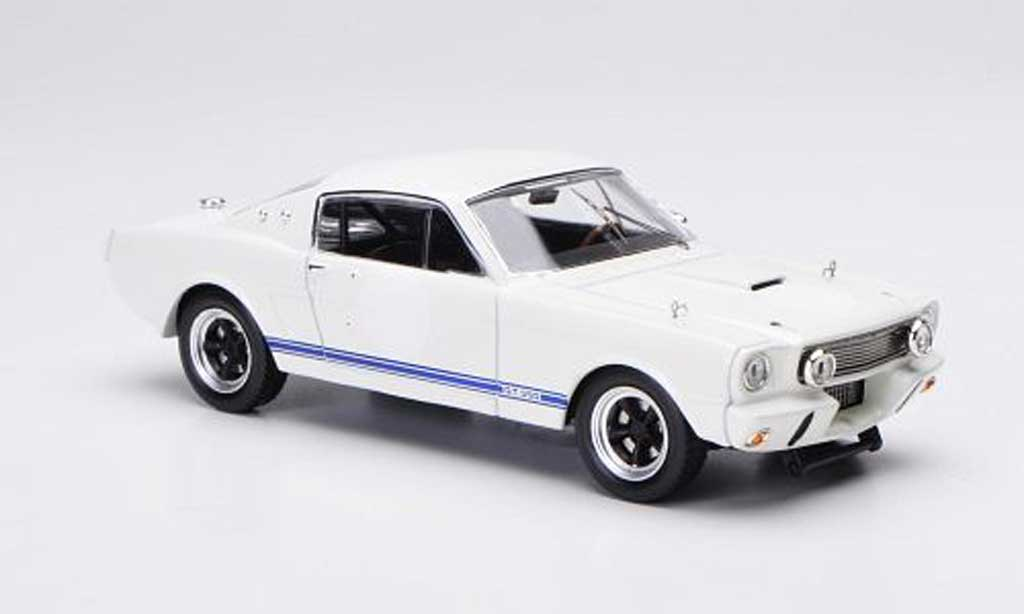 Shelby GT 350 1966 1/43 IXO Ready to Race blanche/bleu miniature