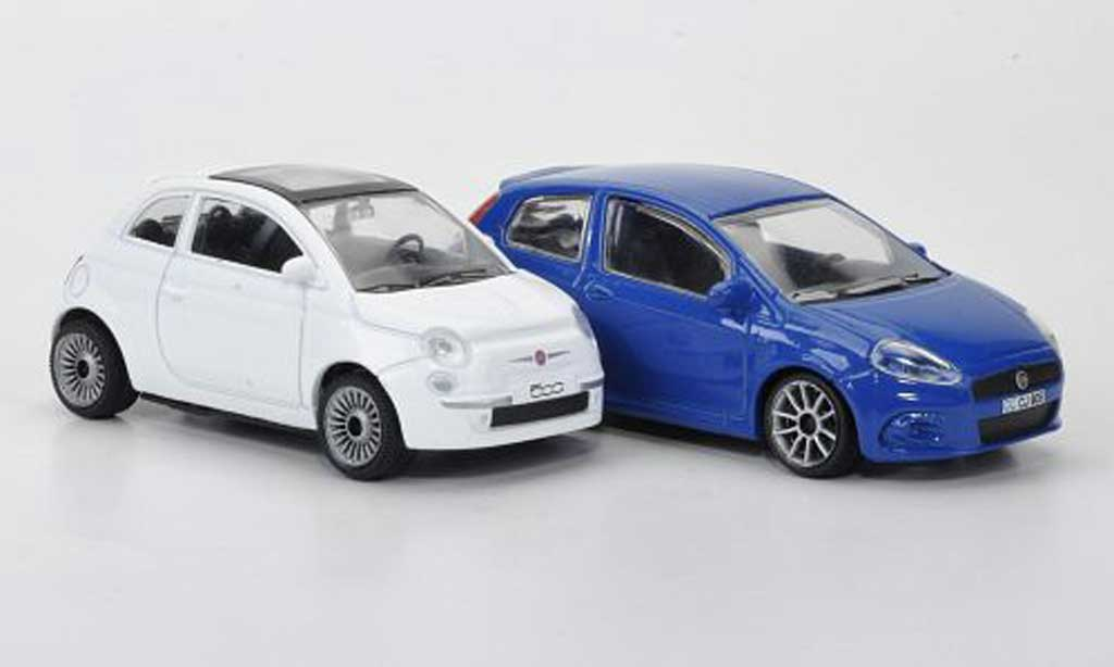 Fiat 500 1/43 Motorama 2er-Set Kompaktwagen white Punto bleu diecast