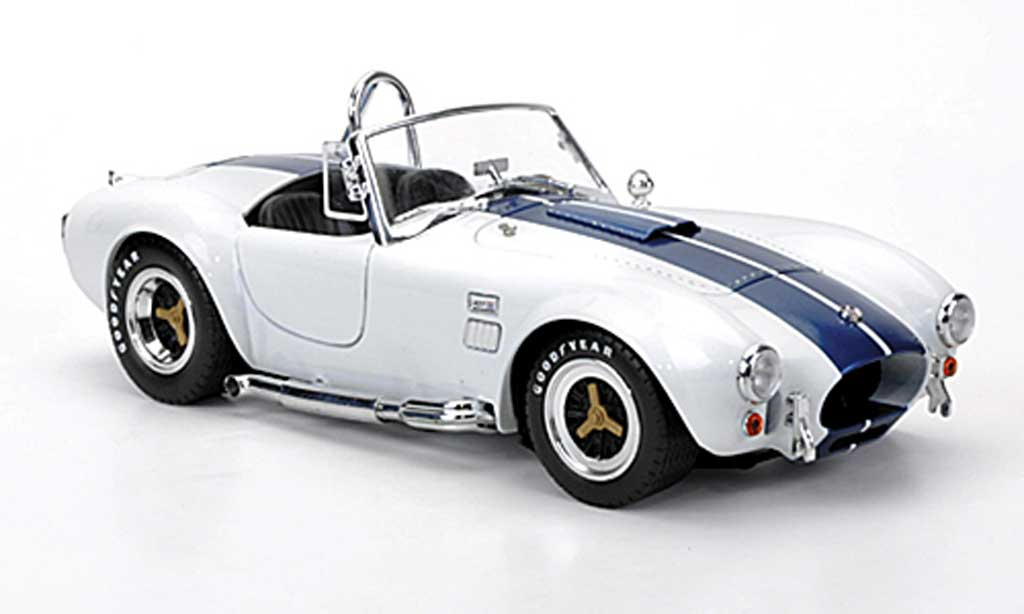 Shelby Ac Cobra 1/18 Shelby Collectibles 427 S/C blanche avec blueen bandes 1966 miniature