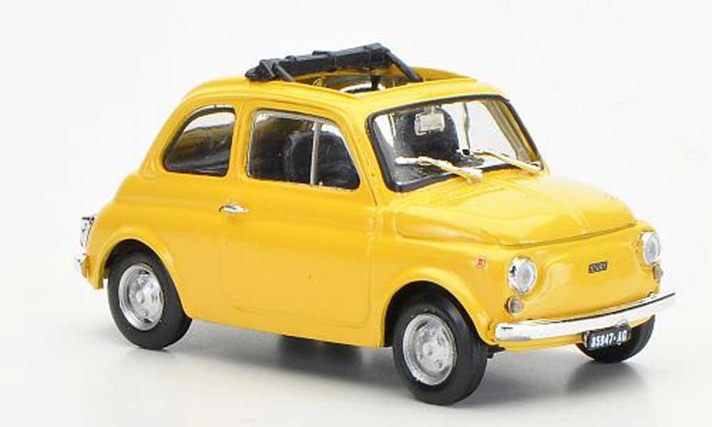 Fiat 500 R 1/43 Brumm R yellowbeige ge?ffnetes Faltdach 1972 diecast model cars