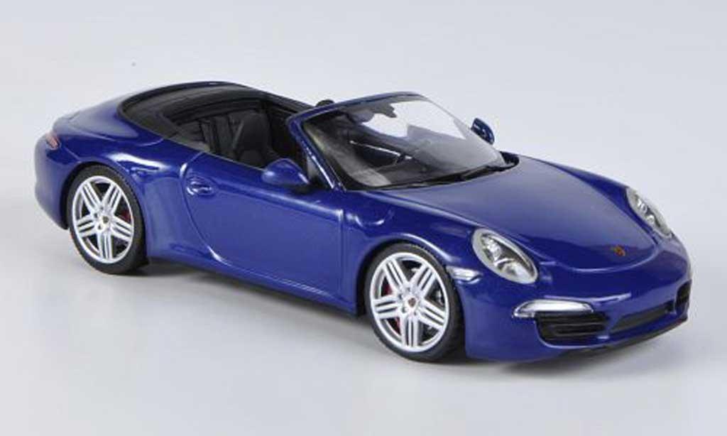 Porsche 991 Carrera 4 1/43 Minichamps Cabriolet bleu 2012 diecast