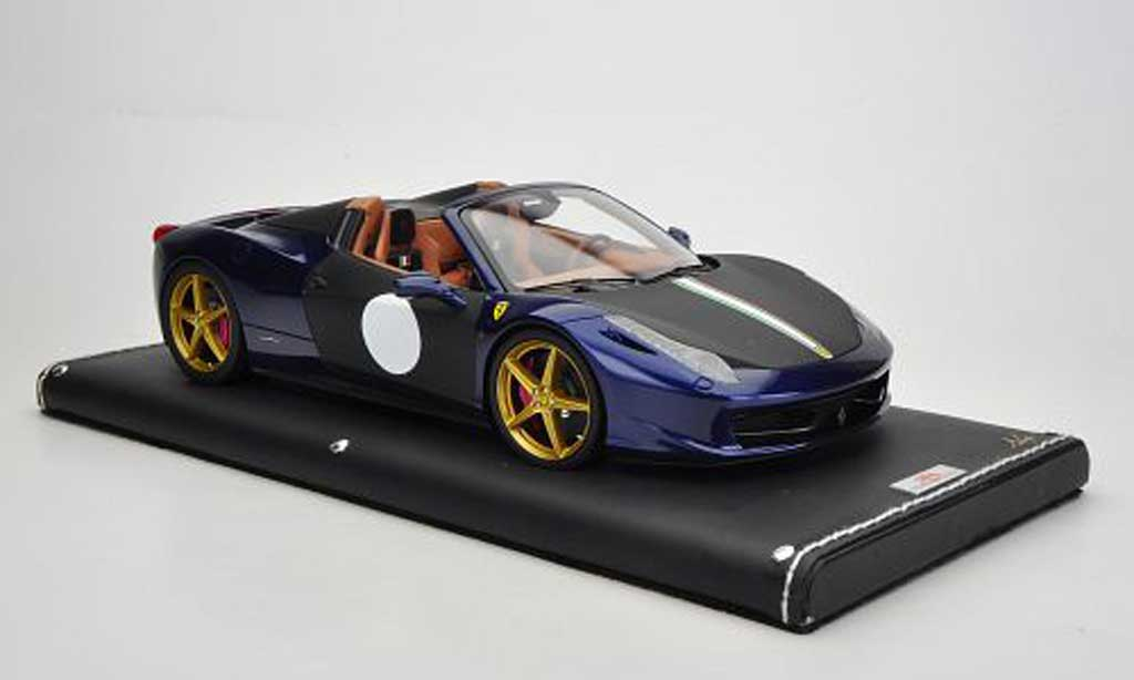 Ferrari 458 Italia Spider 1/18 MR Collection bleu/matt noire miniature