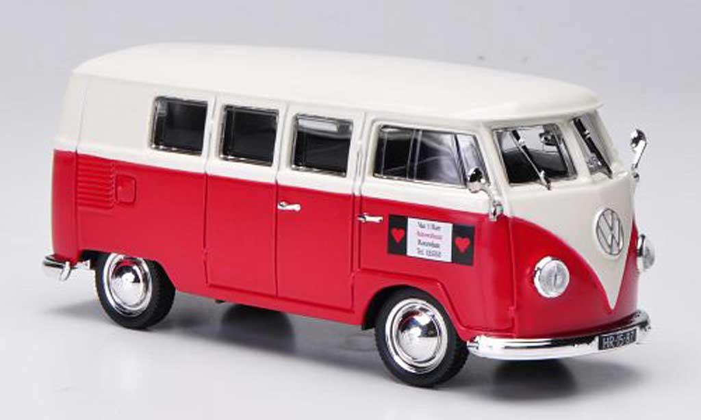 Volkswagen T1 1/43 Norev Kombi Van't Hart - Autoverhuur rouge/blanche 1955 miniature