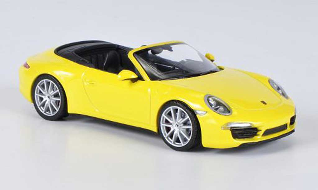 Porsche 991 4S 1/43 Minichamps Carrera Cabriolet yellow 2012 diecast model cars